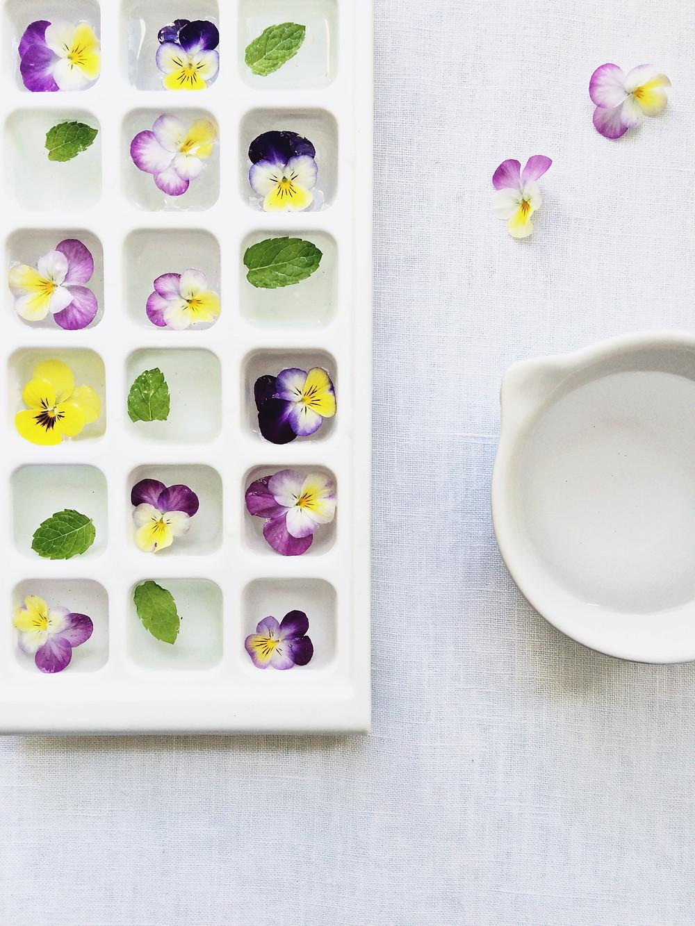 Edible Flower Ice Cubes - Sky Meadow Bakery blog
