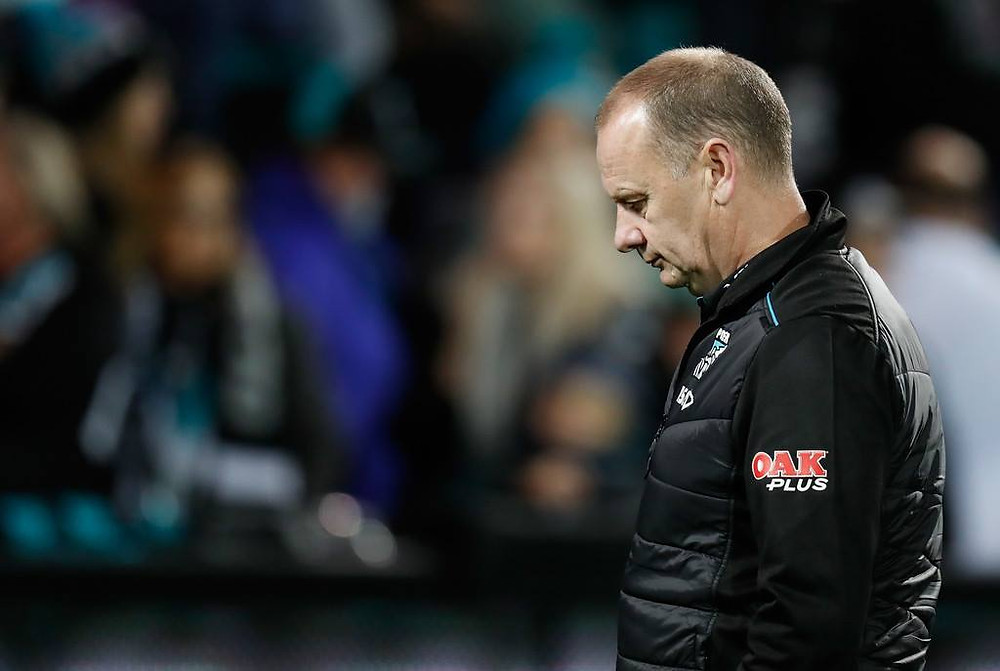 A dejected Ken Hinkley after the Power's Round 15 loss to Richmond. (Image: Michael Willson/AFL Media/Getty Images AsiaPac)