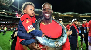 Bruce Djite celebrating United's inaugural title in 2016 has hit out at Greg Griffin