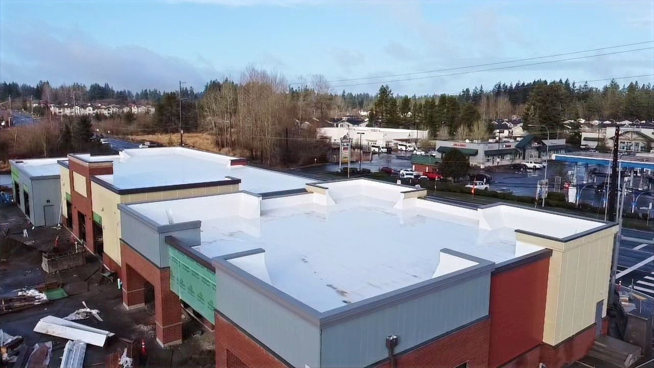 Commercial Roofing - Retail Building Flat Roof