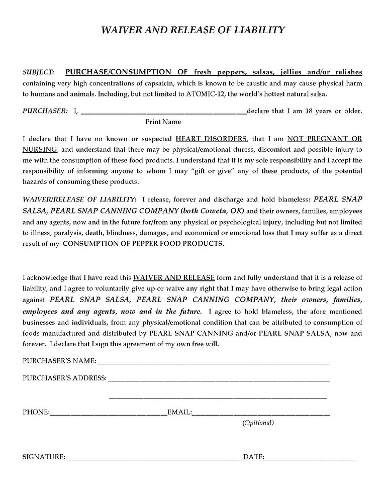 Pearl Snap Canning Company's Waiver