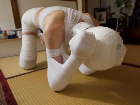 包帯犬と遊んだよ。/I played with a bandage dog.