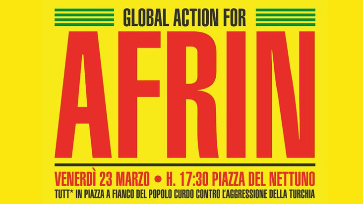 Venerdì 23 marzo - Corteo a Bologna Global action for Afrin