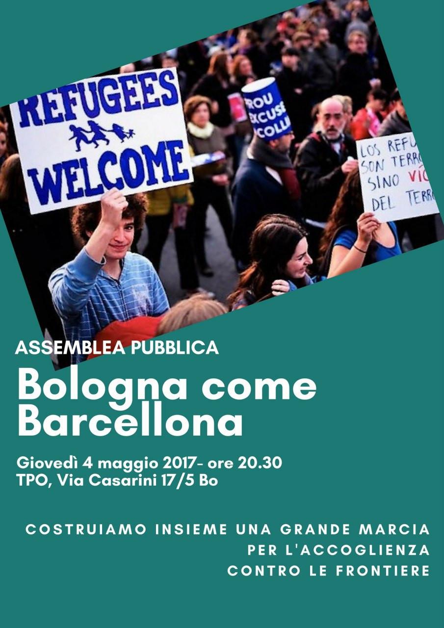 """*Assemblea pubblica """"Bologna come Barcellona"""": Costruiamo insieme una grande marcia per l'accoglien"""