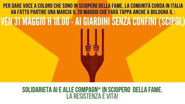 Incontro a Bologna con la marcia per lo sciopero della fame
