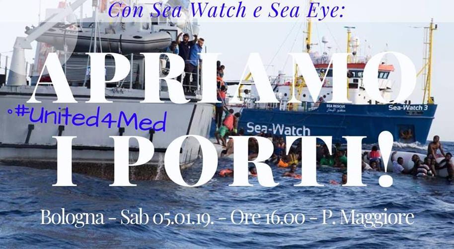 Con Sea Watch e Sea Eye: Apriamo i porti! Presidio a Bologna