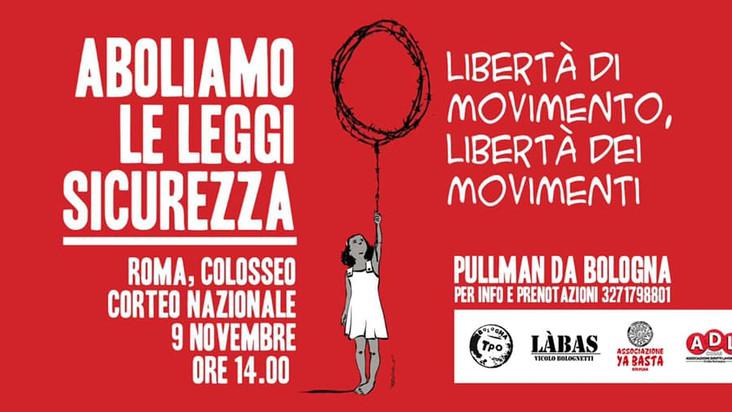 Pullman da Bologna - Corteo nazionale #AboliamoLeLeggiSicurezza