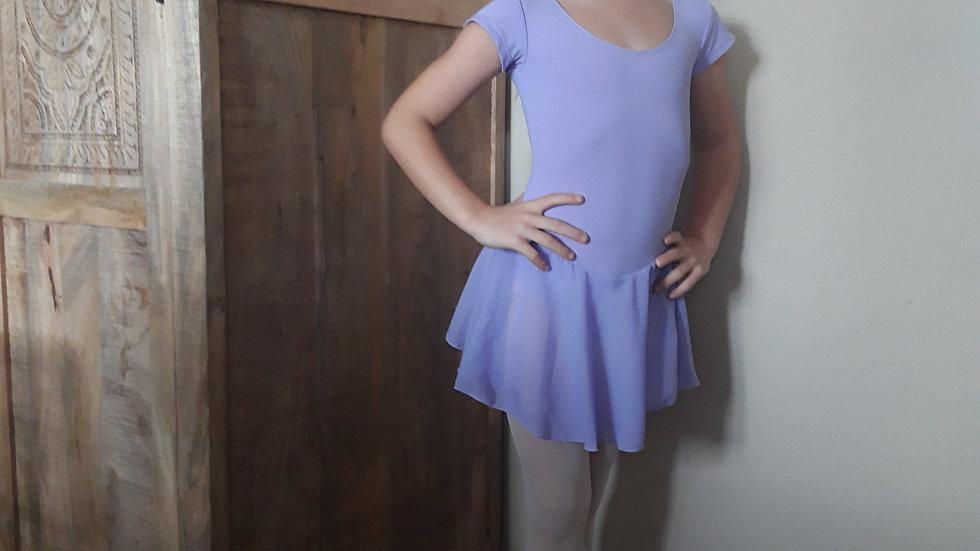 Balletpak korte mouw met rokje maat 110-116