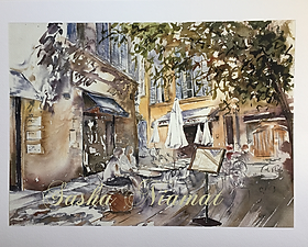 watercolour, watercolor, sasha niamat, cafe, cafe painting, french scene, provence, aix, art, artist, giclee print, greeting cards
