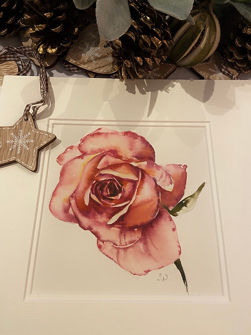 Pink rose with mount