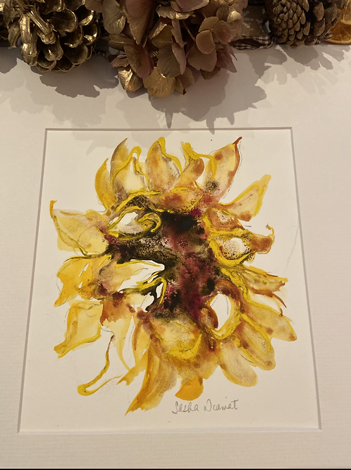 Sunflower mixed media with mount