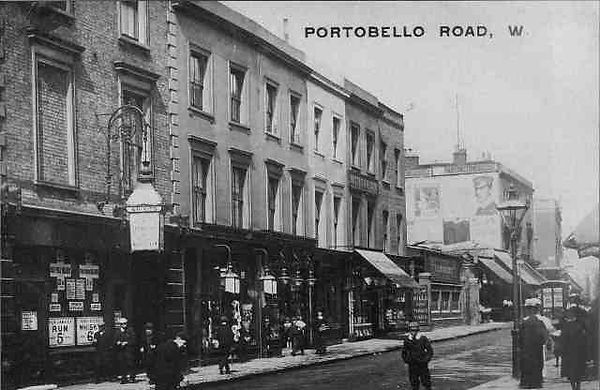 Portobello Road looking north from Finch's pub towards the woodyard.
