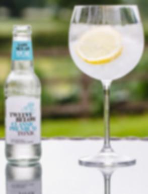 Bottle of TwelveBelow Classic Premium tonic with glass