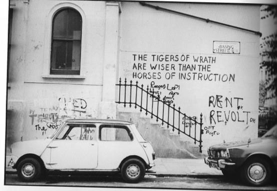 """Tigers of wrath"" grafitti, Basing Street"