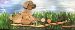 Multi Media Dog and driftwood