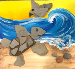 Multi Media ocean rocks