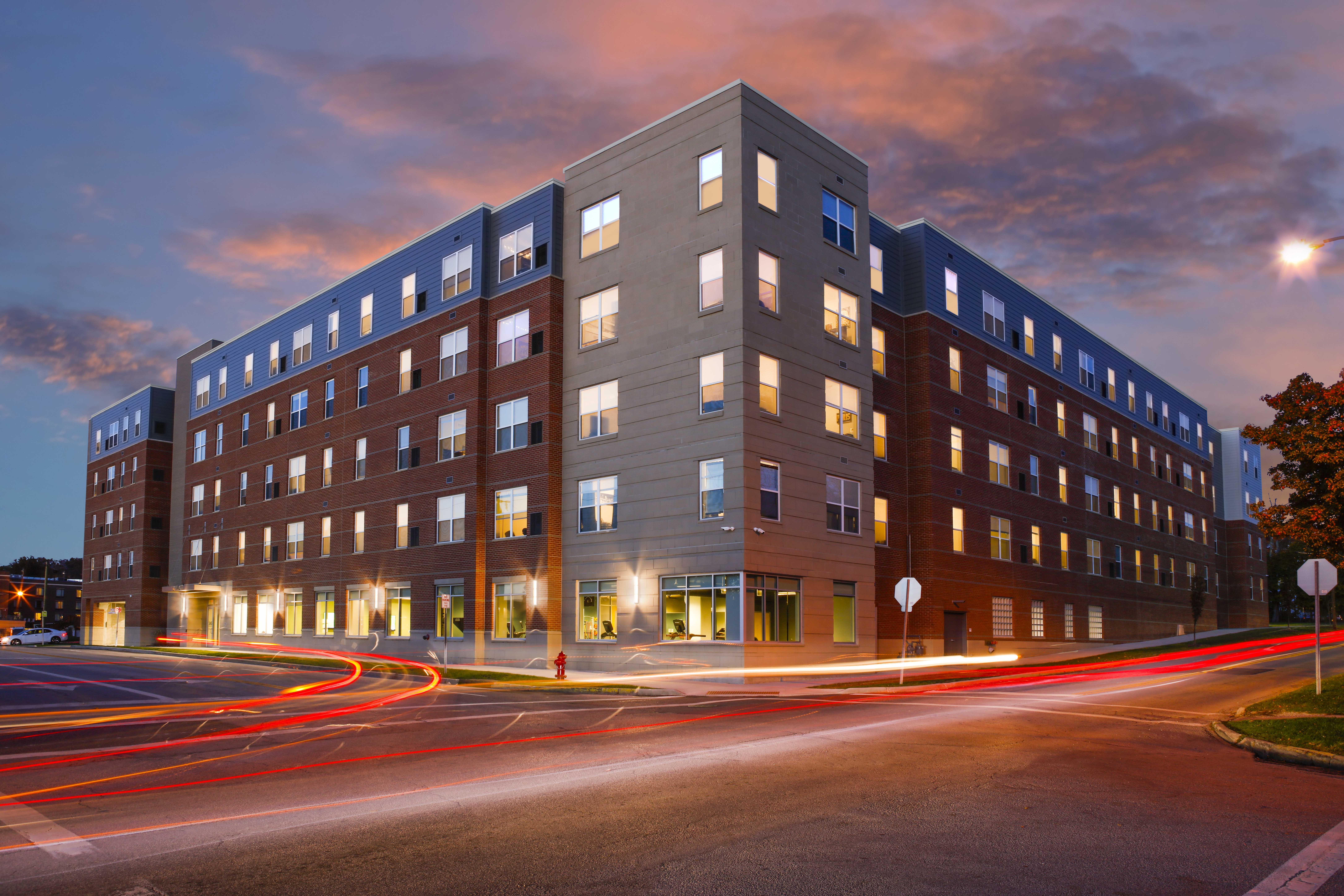 345 Flats exterior dusk