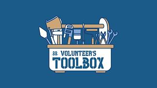 Volunteer's Toolbox graphic- blue border