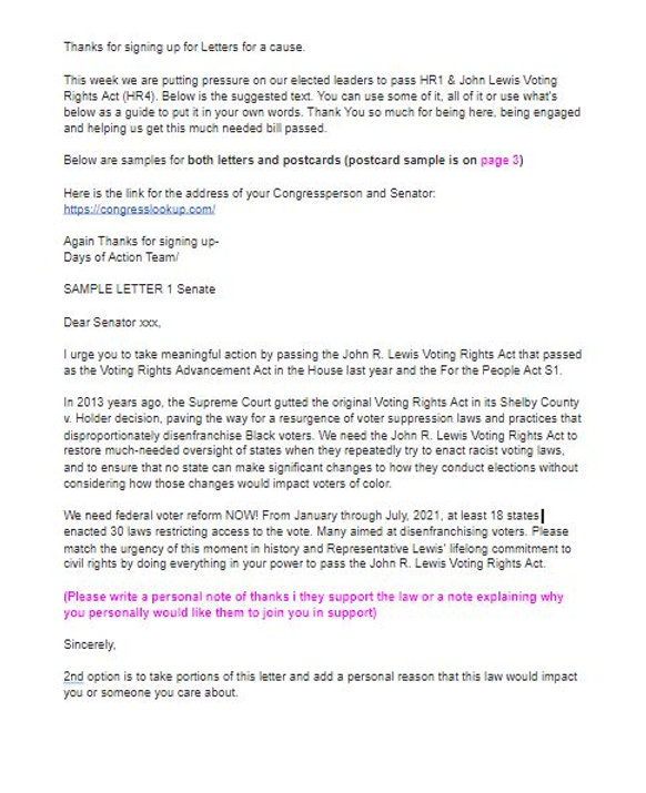 Sample letters for the John Lewis Voting Rights Act (HR4)