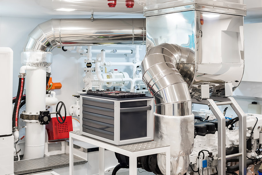 White and clean Engine Room of a modern