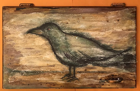 """Crow    24""""x15"""" $725.  Vintage Cabinet, Watercolor, Sumi ink, acrylics, acrylic medium, Unryu papers.    Created on vintage kitchen cabinets from renovated kitchens here in Portland, Oregon and generously donated to me by the homeowners. I take the cabinets and sand them down, clean them up from their years of honorable work of storing plates and cooking pots and cans of beans, and give them a new life. I add handmade papers, bits of gold leaf, and make small embellishments with Sumi ink . I love this process and I love seeing the end results. I hope you will love it too."""