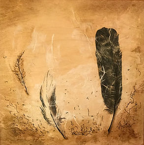 Artwork with feathers and sea grasses available for purchase