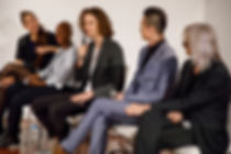 Person talking on a panel of speakers
