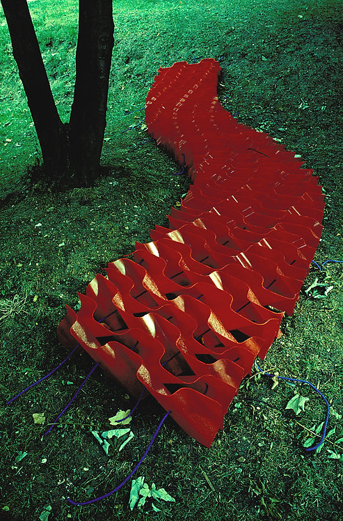 Red snaking slab