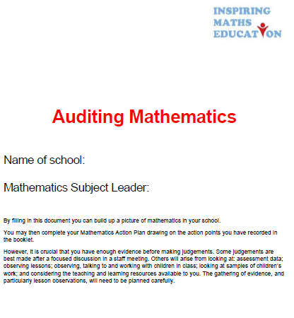 Mathematics Audit for Subject Leaders
