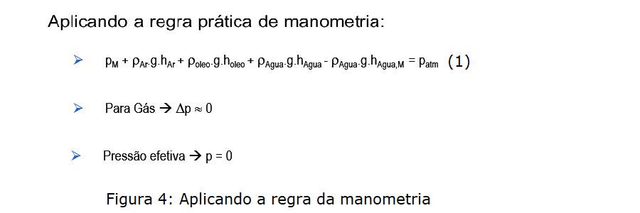 resolução manometro em u