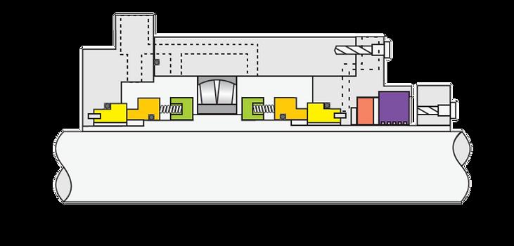 Tipo GP192: Selo Mecânico Cartucho Duplo com Rolamento