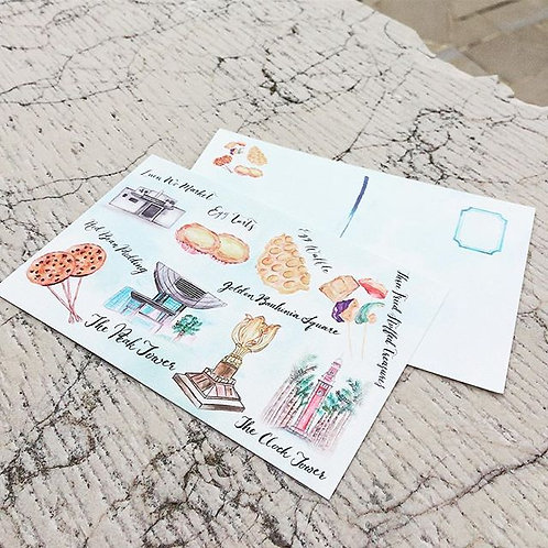 Postcard, Hong Kong local food & places, Watercolor postcard, Watercolor Prints