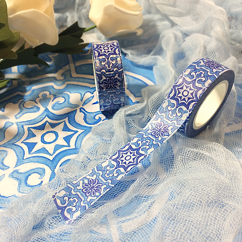Elegant Hand-Painted Watercolor Blue Pattern Washi Tape