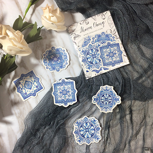 Elegant Filigree Hand painted blue pattern watercolour stickers