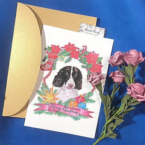Hand illustrated elegant Christmas card set