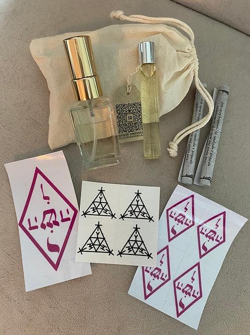 Kit de Óleos Essenciais 5D + Adesivos símbolo de proteção