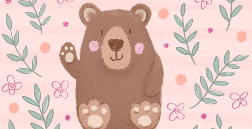 Cute waving bear illustration