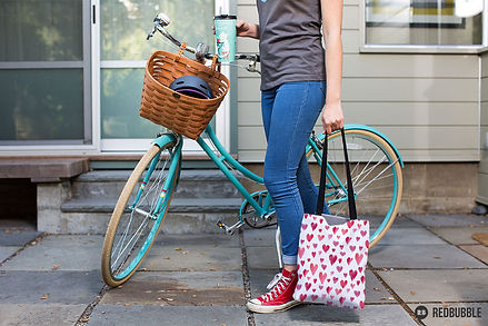 Watercolour hearts fabric pattern canvas bag, Kate Frances Designs Redbubble Shop