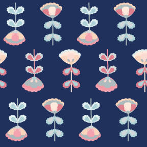 Blue folk flowers pattern