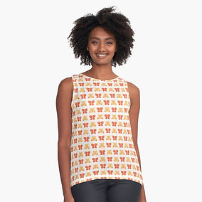 Butterly pattern design sleeveless top, Kate Frances Designs Redbubble Shop