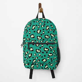 Modern green leopard print design backpack from Redbubble