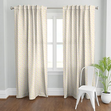 Handmade curtains from Kate Frances Design Spoonflower shop, boho feather fabric design
