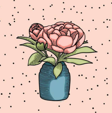 peony in a vase illustration
