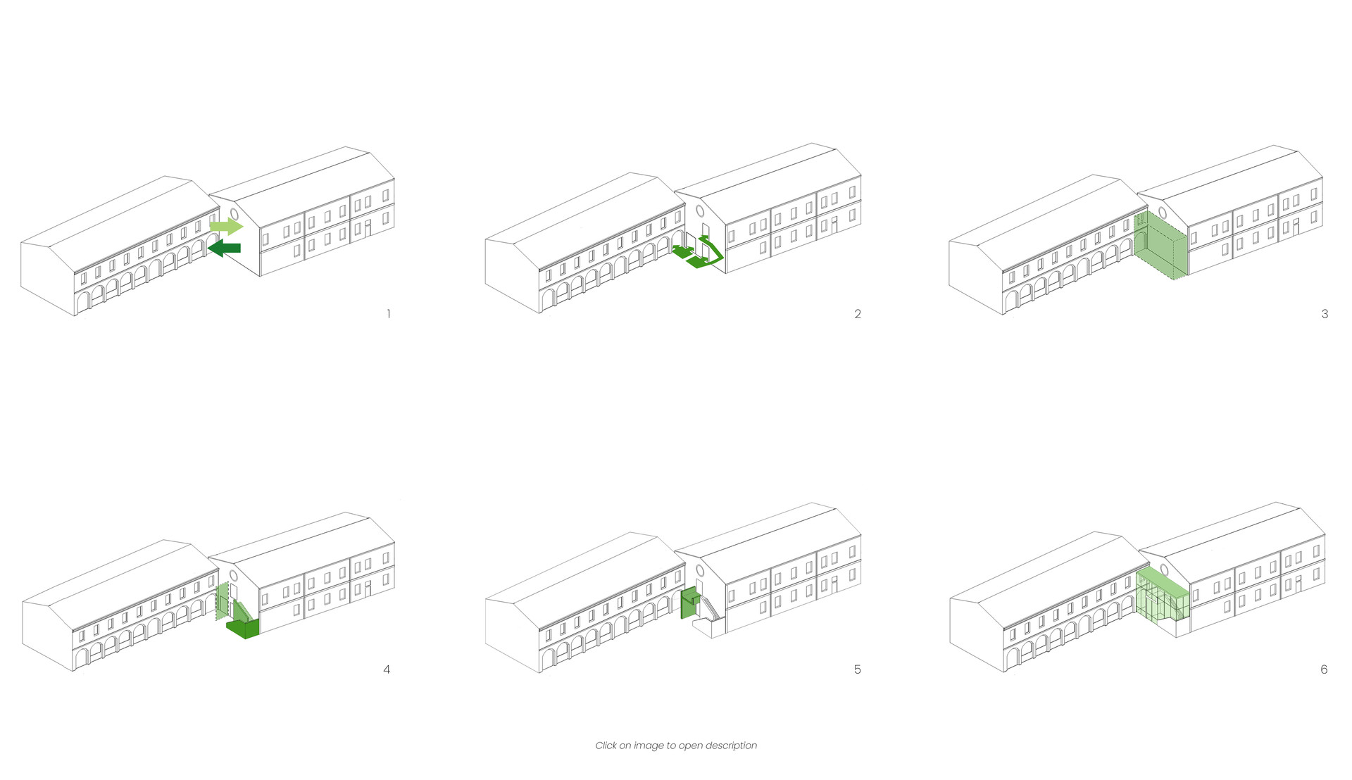 1 need to create a covered passage between the two buildings that are not communicating today  2 Identification and diversification of the vertical (library) and horizontal flows (connection between the corridors of the two buildings)  3 Definition of a covered volume that contains the stairwell  4 Division of spaces: placement of the staircase and placement of a wall according to the hypothesis of the distribution project  5 Positioning of a dividing partition and of the stair landing slab  6 Creation of a light steel and glass structure that volumetrically defines the stairwell: contrast between fullness (staircase, septa and covering) and vacuum (continuous glazing).