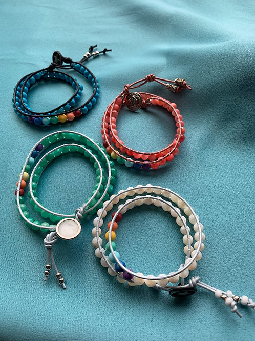 Double wrap chakra bracelets