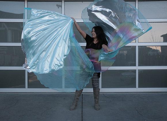 Triple Layer angel Wings Worship Flags Living Water Blue Aqua Rainbow