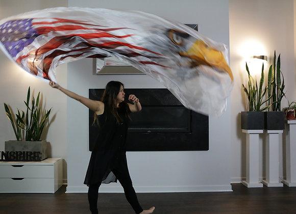 USA flag with Eagle // (ED) Long Silk Flag(s) - from $130