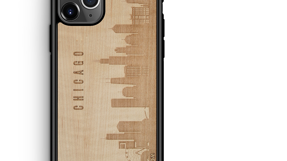 CityScape Wooden Phone Case (Chicago IL Skyline)
