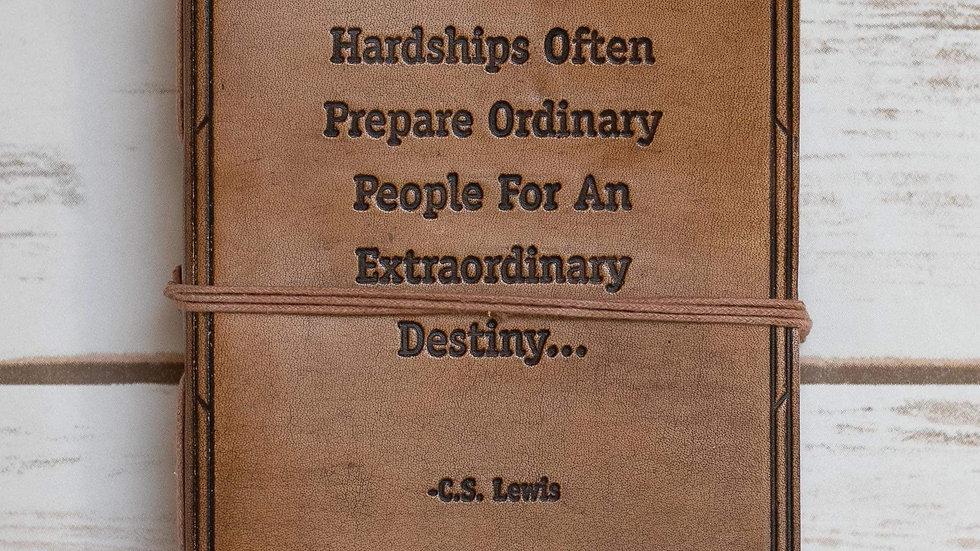 """Hardships and Extraordinary Journey"" Tan Handmade Leather Journal"