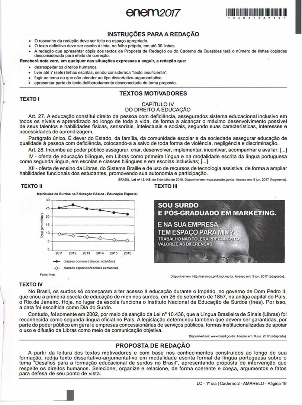 Proposta de redação do ENEM de 2017, reproduzida por inteira na melhor qualidade (HD)